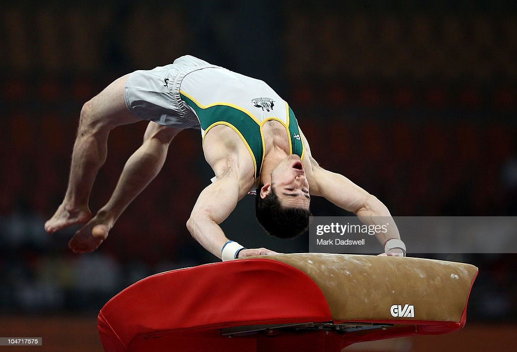 Samuel Offord of Australia in action on the vault during the Men's Artistic Gymnastics Qualification at IG Sports Complex during day one of the Delhi 2010 Commonwealth Games on October 4, 2010 in Delhi, India. Wales led the qualifiers in first place.