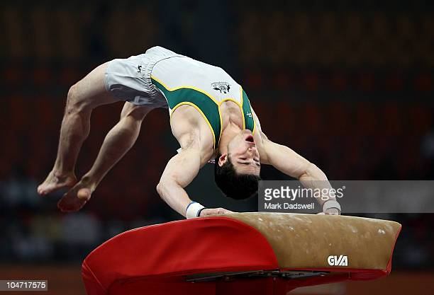 Samuel Offord of Australia in action on the vault during the Men's Artistic Gymnastics Qualification at IG Sports Complex during day one of the Delhi...