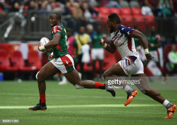 Samuel Oliech of Kenya scores a try against Matai Leuta of the United States away during the Canada Sevens the Sixth round of the HSBC Sevens World...