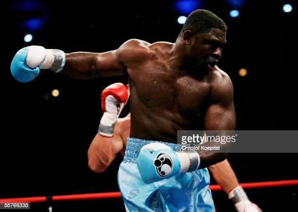 Samuel Peter of Nigeria is tumbling down during the IBF/WBO Heavyweight fight between Vladimir Klitschko and Samuel Peter at the Boardwalk Hall on...