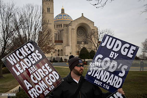 Samuel PhelpsRoper a member of the Westboro Baptist Church protests outside of the Basilica of the National Shrine of the Immaculate Conception...