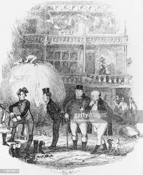 Samuel Pickwick meets Sam Weller for the first time at the White Hart Inn in a scene from Charles Dickens's first novel 'The Pickwick Papers'...