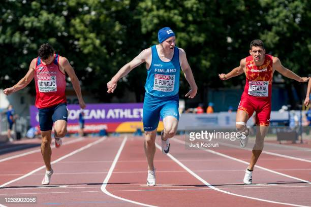 Samuel Purola of Finland competes during Men's 200m Semi-Final 2 during 2021 European Athletics U23 Championships - Day 3 at at Kadriorg Stadium on...