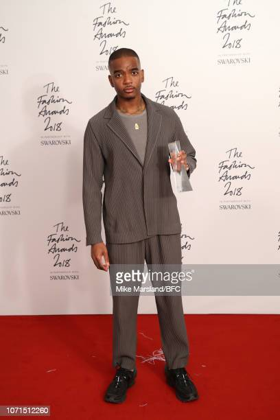 Samuel Ross for ACOLDWALL winner of the British Emerging Talent Menswear award in the winners room during The Fashion Awards 2018 In Partnership With...