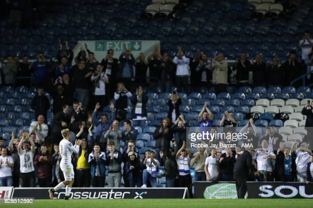 Samuel Saiz of Leeds United applauds the fans at full time during the Carabao Cup First Round match between Leeds United and Port Vale at Elland Road...