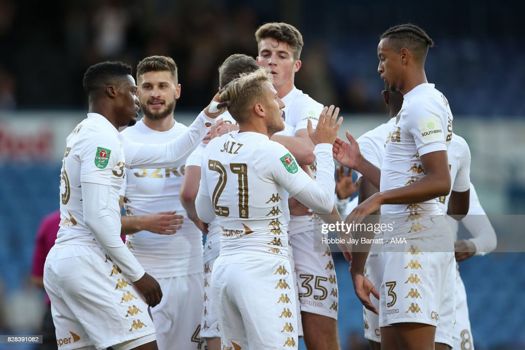 Samuel Saiz of Leeds United celebrates after scoring a goal to make it 1-0during the Carabao Cup First Round match between Leeds United and Port Vale at Elland Road on August 9, 2017 in Leeds, England.