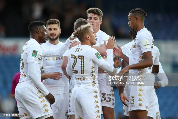 Samuel Saiz of Leeds United celebrates after scoring a goal to make it 10during the Carabao Cup First Round match between Leeds United and Port Vale...