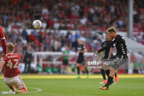Samuel Saiz of Leeds United scores the second goal of the game during the Sky Bet Championship match between Nottingham Forest and Leeds United at...