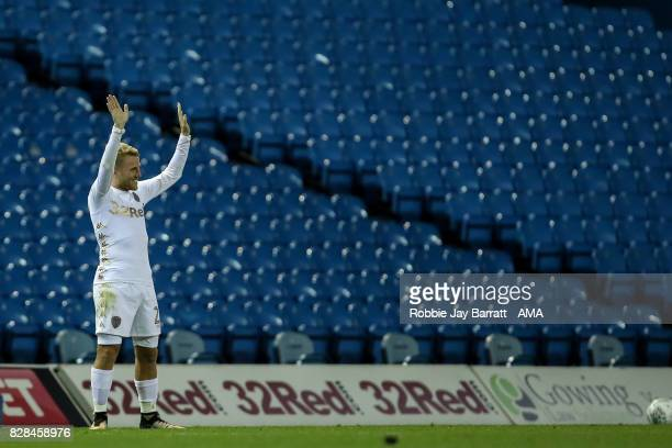 Samuel Saiz of Leeds United waves to the fans at full time during the Carabao Cup First Round match between Leeds United and Port Vale at Elland Road...