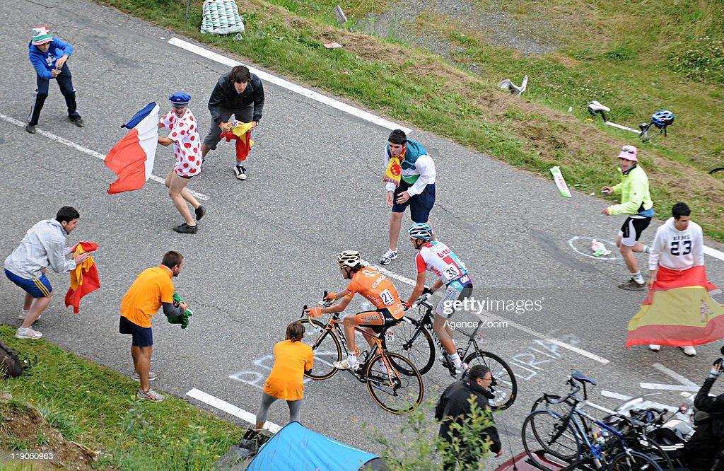 Samuel Sanchez of Team Euskaltel - Euskadi cycles during Stage 12 of the Tour de France on Thursday 14 July, Cugnaux to Luz-Ardiden, France.