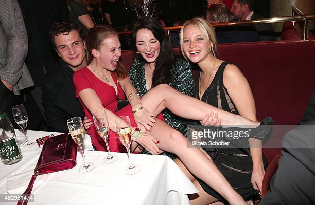 Samuel Schneider Alicia von Rittberg Maria Ehrich and Sonja Gerhardt attend the Bild 'Place to B' Party at Borchardt Restaurant on February 7 2015 in...