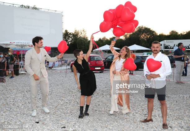 """Samuel Schneider, Emilia Schuele, Alicia von Rittberg and Edin Hasanovic during the premiere of the movie """"Hello Again - Ein Tag fuer immer"""" as part..."""