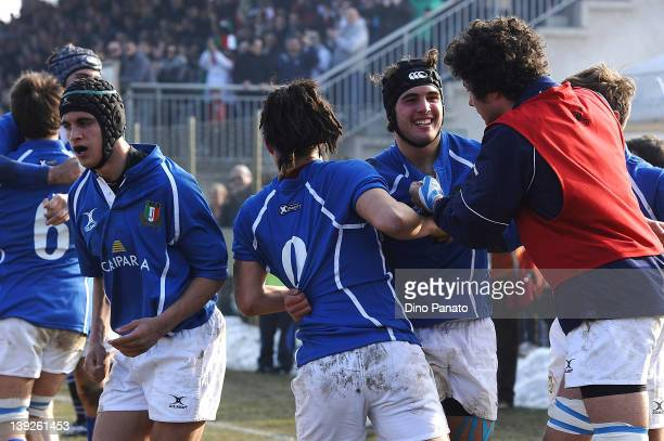 Samuel Seno of Italy U18 celebrates scoring a try with is team mates during the U18 rugby test match between Italy U18 and Ireland U18 on February 18...