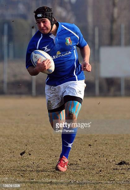 Samuel Seno of Italy U18 runs with the ball during the U18 rugby test match between Italy U18 and Ireland U18 on February 18 2012 in Badia Polesine...