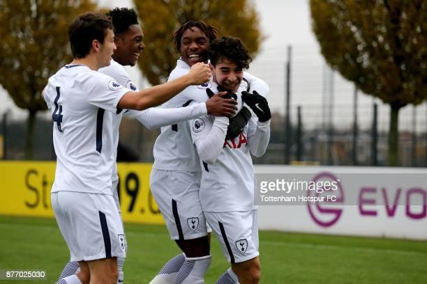Samuel Shashoua of Tottenham celebrates the first goal with Kazaiah Sterling of Tottenham during the UEFA Youth League match between Borussia...