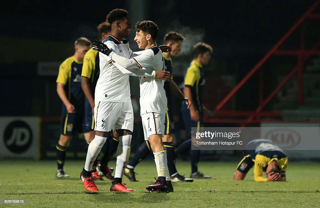 Samuel Shashoua of Tottenham Hotspur celebrates his goal to make the score 10-1 during the FA Youth Cup Third Round between Tottenham Hotspur and Stevenage at on November 30, 2016 in Stevenage, England.