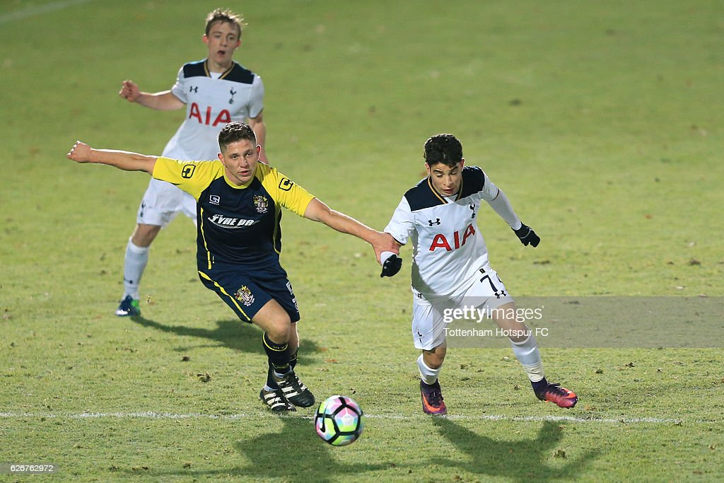 Samuel Shashoua of Tottenham Hotspur holds off pressure from Charley O'Keefe of Stevenage during the FA Youth Cup Third Round between Tottenham Hotspur and Stevenage at The Lamex Stadium on November 30, 2016 in Stevenage, England.