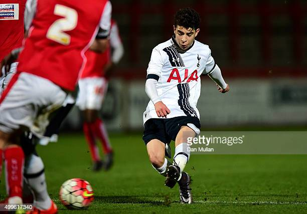 Samuel Shashoua of Tottenham Hotspur scores his side's fourth goal during the FA Youth Cup match between Tottenham Hotspur and Rotherham United at...