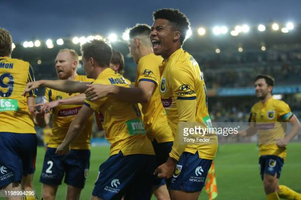 Samuel Silvera of the Central Coast Mariners celebrates a goal during the round 14 ALeague match between the Central Coast Mariners and the Melbourne...