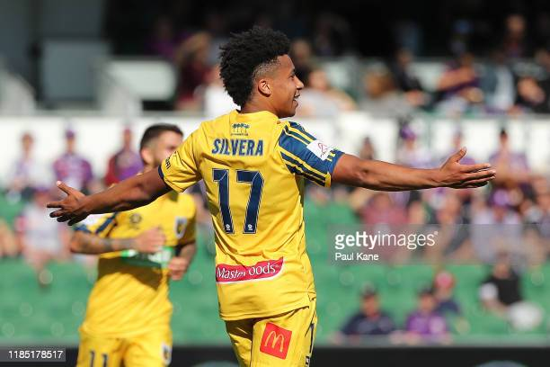 Samuel Silvera of the Mariners celebrates a goal during the round four ALeague match between the Perth Glory and the Central Coast Mariners at HBF...