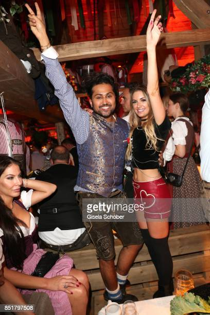 Samuel Sohebi celebrates his birthday with Michela Federico during the Oktoberfest at Kaefer Schaenke Theresienwiese on September 22 2017 in Munich...