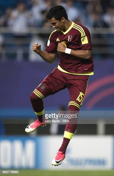Samuel Sosa of Venezuela celebrates during the FIFA U20 World Cup Korea Republic 2017 Semi Final match between Uruguay and Venezuela at Daejeon World...