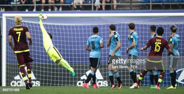 Samuel Sosa of Venezuela scores his teams first goal during the FIFA U20 World Cup Korea Republic 2017 Semi Final match between Uruguay and Venezuela...