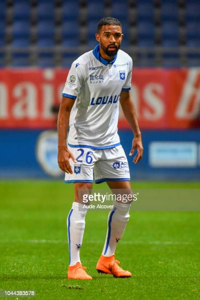 Samuel Souprayen of Auxerre during the French Ligue 2 match between Troyes and Auxerre at Stade de l'Aube on October 1 2018 in Troyes France