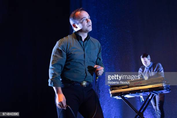 Samuel T. Herring and Gerrit Welmers of Future Islands perform on stage at Usher Hall on June 14, 2018 in Edinburgh, Scotland.