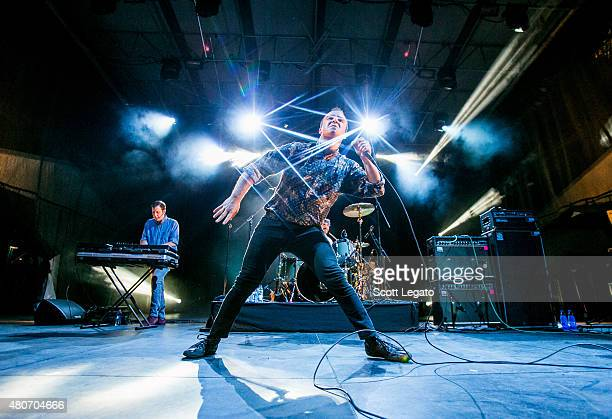 Samuel T Herring of Future Island performs during Festival D'ete De Quebec on July 13 2015 in Quebec City Canada