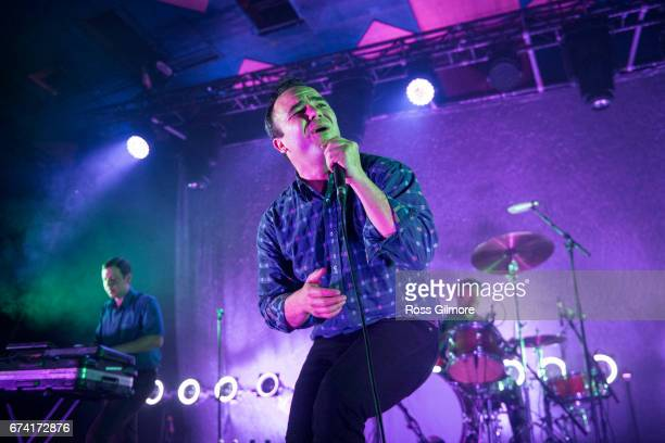 Samuel T Herring of Future Islands performs at Barrowlands Ballroom on April 27 2017 in Glasgow Scotland