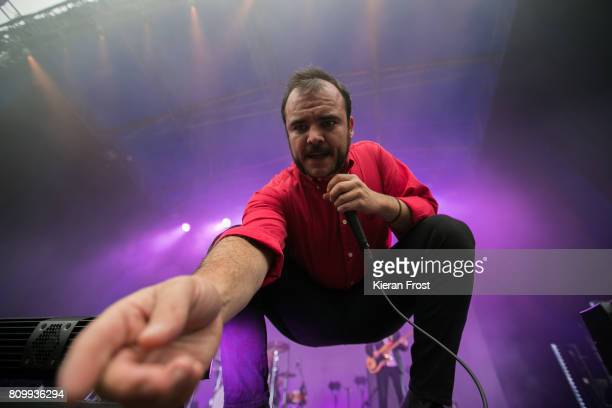Samuel T. Herring of Future Islands performs at Iveagh Gardens on July 6, 2017 in Dublin, Ireland.