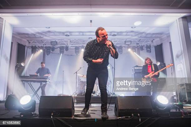 Samuel T Herring of Future Islands performs at University Refectory on April 28 2017 in Leeds England