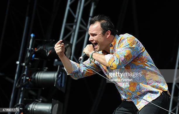 Samuel T Herring of Future Islands performs on the Other stage at the Glastonbury Festival at Worthy Farm Pilton on June 28 2015 in Glastonbury...