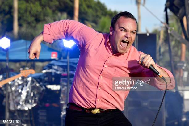 Samuel T Herring of Future Islands performs on the Outdoor Theatre during day 3 of the Coachella Valley Music And Arts Festival at the Empire Polo...