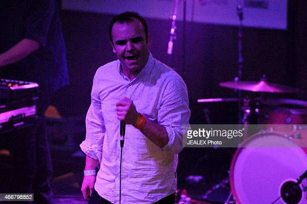 Samuel T Herring of Future Islands performs onstage at the House Of Vans showcase during the 2015 SXSW Music Film Interactive Festival at Mohawk on...