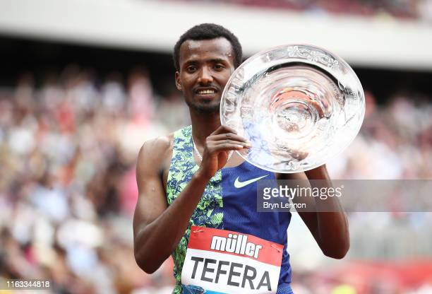 Samuel Tefera of Ethiopia celebates winning the Emsley Carr 1 Mile during Day Two of the Muller Anniversary Games IAAF Diamond League event at the...
