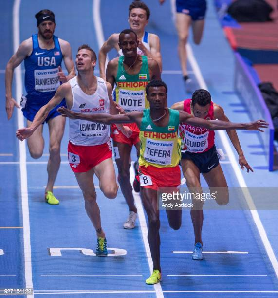 Samuel Tefera of Ethiopia celebrates winning the Men's 1500m Final on Day 4 of the IAAF World Indoor Championships at Arena Birmingham on March 4...