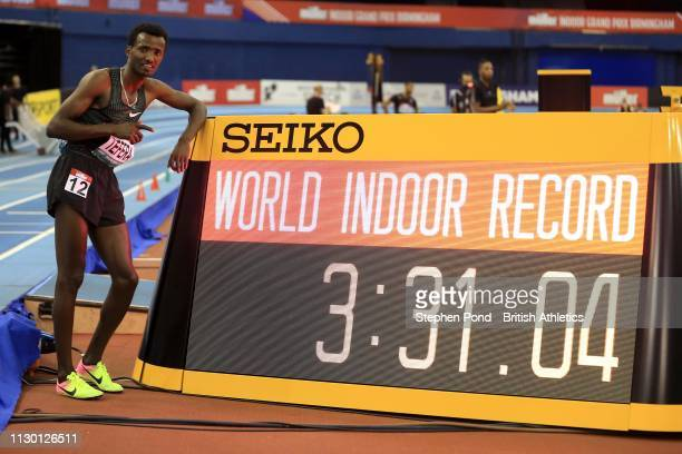 Samuel Tefera of Ethiopia celebrates winning the Men's 1500m with a new indoor world record time during the Muller Indoor Grand Prix IAAF World...
