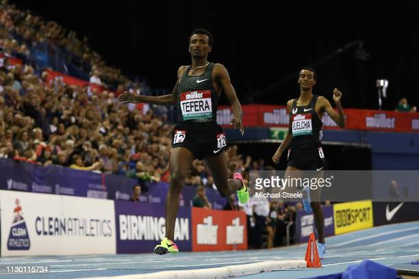 Samuel Tefera of Ethiopia sets a new indoor world record as he wins the men's 1500m during the Muller Indoor Grand Prix IAAF World Indoor Tour event...