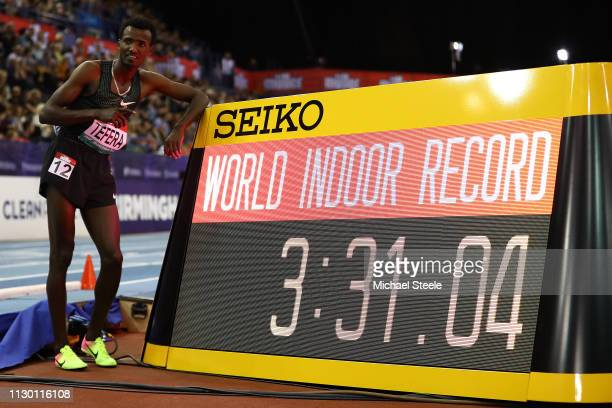 Samuel Tefera of Ethiopia sets a new indoor world record in the men's 1500m during the Muller Indoor Grand Prix IAAF World Indoor Tour event at Arena...