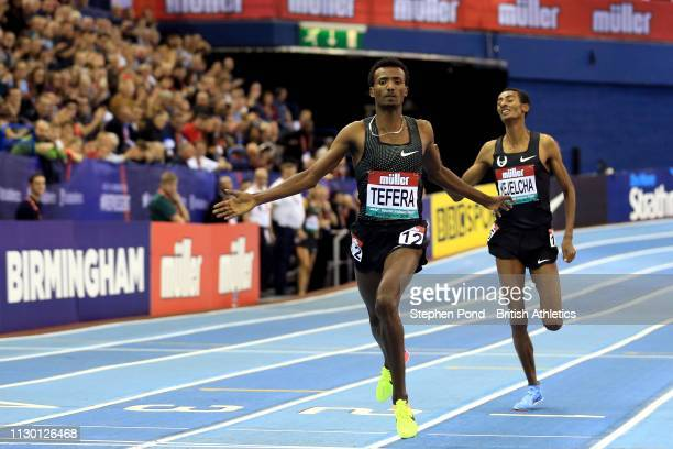 Samuel Tefera of Ethiopia wins the Men's 1500m with a new indoor world record time during the Muller Indoor Grand Prix IAAF World Indoor Tour event...