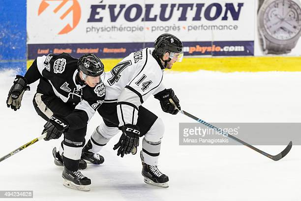 Samuel Tremblay of the BlainvilleBoisbriand Armada skates close behind Jonathon Masters of the Gatineau Olympiques during the QMJHL game at the...