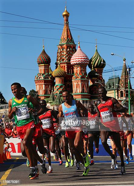 Samuel Tsegay of Eritrea leads the pack in front of Saint Basil's Cathedral on August 17, 2013 in Moscow, Russia.
