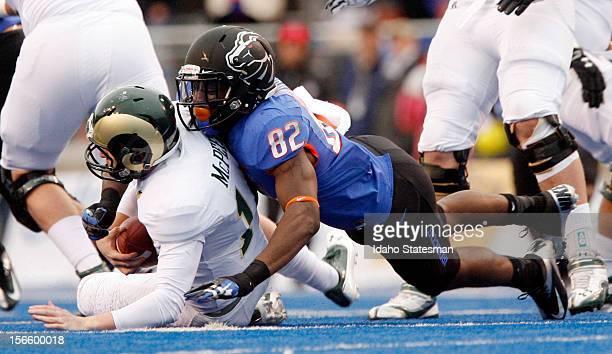 Samuel Ukwuachu of Boise State sacks Colorado State quarterback MJ McPeek at Bronco Stadium in Boise Idaho on Saturday November 17 2012