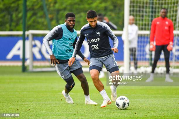 Samuel Umtiti and Nabil Fekir during a training session open to the public of French Football Team on June 6 2018 in Paris France