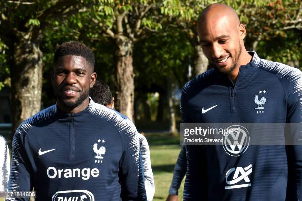 Samuel Umtiti and Steven Nzonzi arrive to a training session at the French National Football Centre as part of the preparation to UEFA Euro 2020 on...