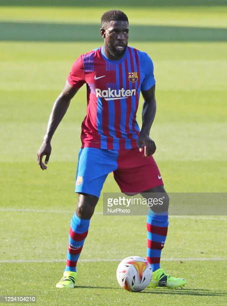Samuel Umtiti during the friendly match between FC Barcelona and Club Gimnastic de Tarragona, played at the Johan Cruyff Stadium on 21th July 2021,...