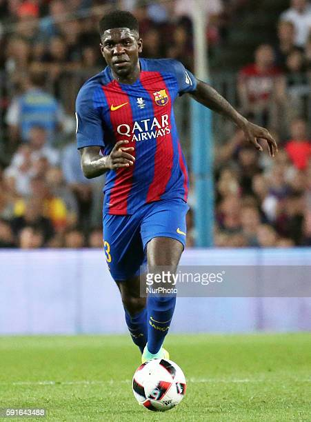 Samuel Umtiti during the match between FC Barcelona and Sevilla CF corresponding to the second match of the spanish Supercup played at the Camp Nou...