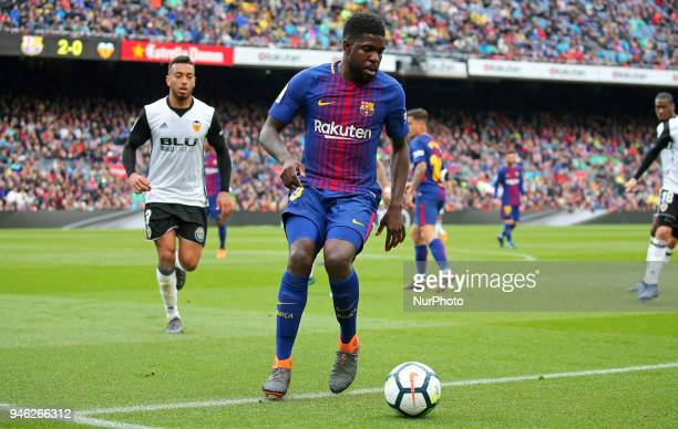 Samuel Umtiti during the match between FC Barcelona and Valencia CF played at the Camp Nou Stadium on 14th April 2018 in Barcelona Spain